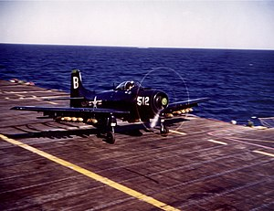 Douglas A-1 Skyraider - An AD-4 Skyraider taking off from USS Princeton (CV-37) during the Korean War