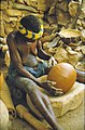 ASC Leiden - W.E.A. van Beek Collection - Dogon pottery 03 - Yajagalu busy finishing her pot, Tireli, Mali 1984.jpg