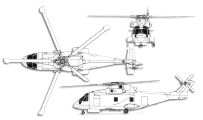 AgustaWestland AW101 on 4 rotor helicopter
