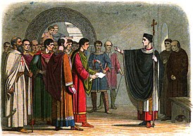 A Chronicle of England - Page 167 - Becket Forbids the Earl of Leceister to Pass Sentence on Him.jpg