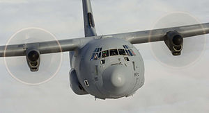 No. 30 Squadron RAF - A Hercules C130J in flight.