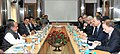 A delegation led by the State Minister of Economy, Poland, Mr. Jerzy Witold Pietrewicz meeting the Union Minister for Mines and Steel, Shri Narendra Singh Tomar, in New Delhi on December 12, 2014.jpg