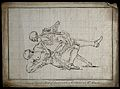 A skeleton (death) wrestling with a man, the skeleton seems Wellcome V0049261.jpg