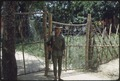 A young soldier from the Popular Forces stands gate guard duty in Vietnam. - NARA - 532459.tif