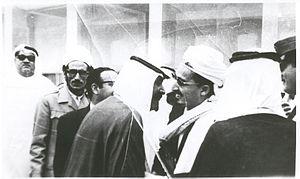 Abdullah ibn Husayn al-Ahmar - Patriarch of Hashid tribal confederation with then Prince Mohammad bin Ahmad Al-Sudairy of Saudi Arabia in 1973