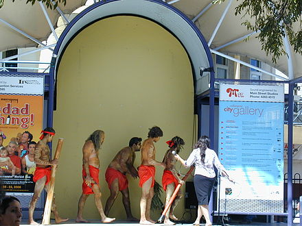 Indigenous Australians performing at the now-demolished auditorium at Crown Street Mall Aboriginals Performing at Crown Street Mall.jpg