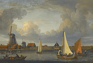 Dutch Golden Age - A river landscape with fishermen in rowing boats, windmills beyond, 1679
