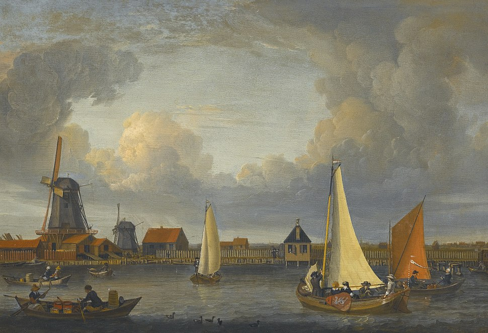 Abraham Storck - A river landscape with fishermen in rowing boats (1679)