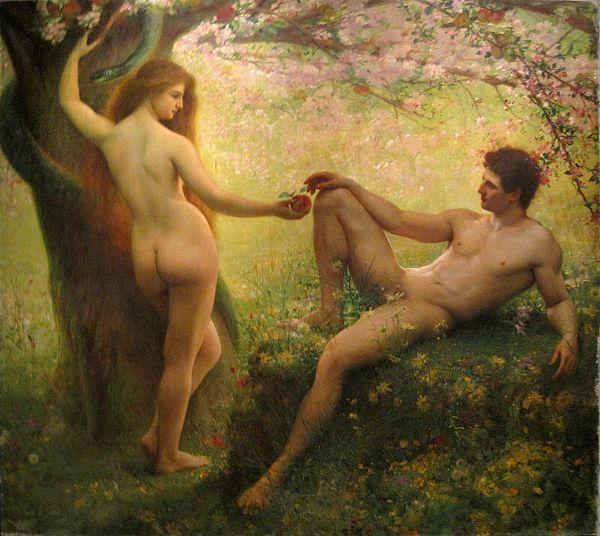 Eva lurar Adam att äta frukten från kunskapens träd