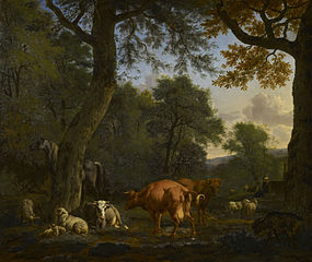 A Woodland Glade with Animals and Figures