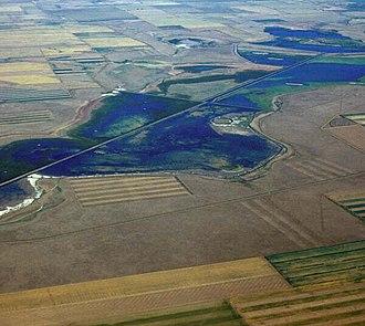 Benton Lake National Wildlife Refuge - Aerial view of Benton Lake
