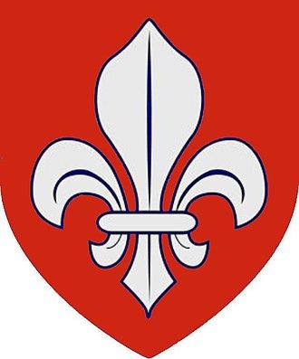 """Aguillon family - Arms of Aguillon: """"Gules, a fleur de lis argent"""""""