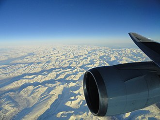 ETOPS - Twin-engine Boeing 767-300ER over Alaska beginning a trans-Pacific crossing