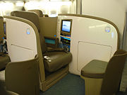 Air New Zealand Business Premier flatbed seat.