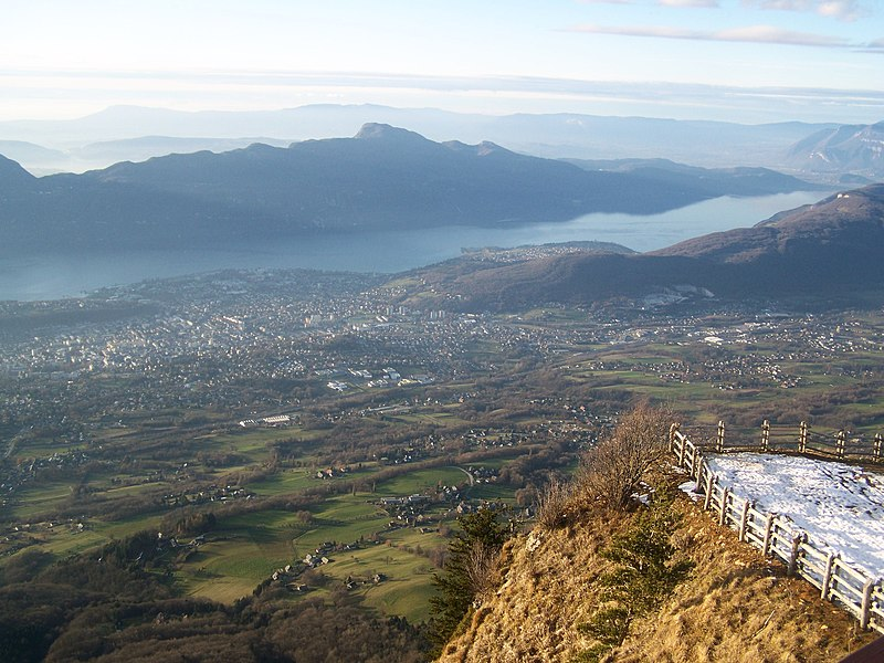Landscape on city of Aix-les-Bains and the lac du Bourget lake, seen from the Mont Revard in Savoie, France.