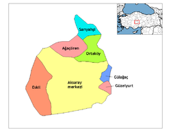 Location of Aksaray within Turkey.