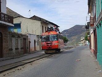 Alausí - Tourist train leaving Alausí for Nariz del Diablo