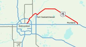 Alberta Highway 15 - Image: Alberta Highway 15 Map