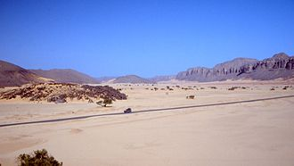 Trans-Sahara Highway - Roadway in the Algerian Sahara.