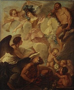 1757 in Russia - Allegory of Academy of Arts' foundation by anonymous (1750s, Tretyakov gallery)