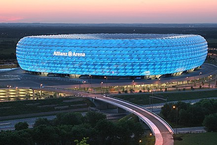 The Allianz Arena, one of the world's most modern football stadiums. AllianzArenaSunset.jpg