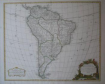Didier Robert de Vaugondy: Map of South America 1750