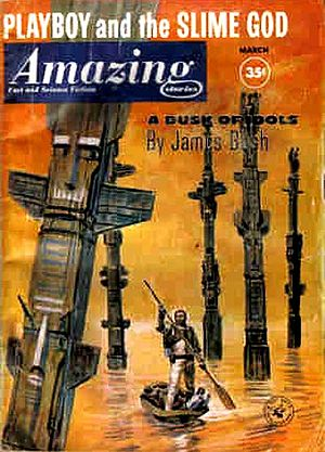 "Amazing Stories - March 1961 issue, featuring James Blish's ""A Dusk of Idols"""