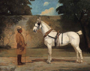 F. Ambrose Clark - Ambrose Clark and favourite coach horse. Portrait by Lynwood Palmer (1868-1941)