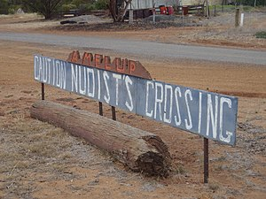 Amelup, Western Australia - Nudist Crossing Sign