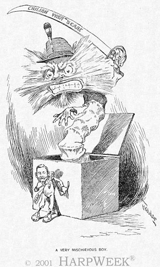 """Patrick Egan (land reformer and diplomat) - """"A very mischievous Boy"""", by Egan; he wanted to provoke a war against Chile (Harper's Weekly, Noviembre 14 de 1891)."""