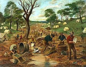 Australian gold rushes - Australian gold diggings, by Edwin Stocqueler, c. 1855