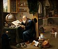 An alchemist in his laboratory. Oil painting by a follower o Wellcome V0017631.jpg