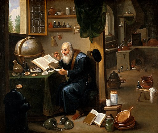 An alchemist in his laboratory. Oil painting by a follower o Wellcome V0017631