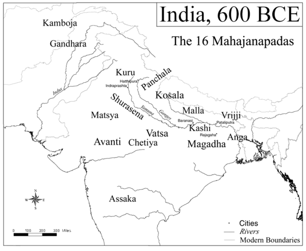Map of the Mahajanapadas