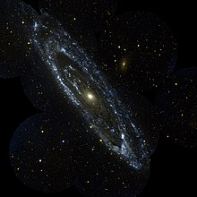 the andromeda galaxy pictured in ultraviolet light by galex