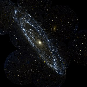Andromeda Galaxy - The Andromeda Galaxy pictured in ultraviolet light by GALEX.