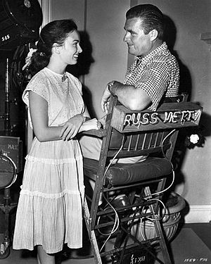 Russell Metty - With Ann Blyth on the set of A Woman's Vengeance (1948)