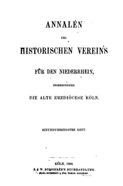 File:Annalen des Historischen Vereins für den Niederrhein 41 (1884).djvu