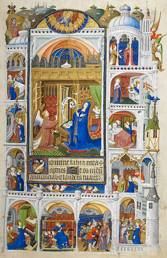 Bedford Hours - Miniature of the Annunciation, with scenes from the life of the Virgin, f. 32r