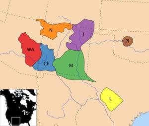 Apacze i Nawahowie ok. XVIII w.: Ch-Chiricahua, J-Jicarilla, L-Lipan, M-Mescalero, N-Nawahowie, Pl-Kiowa-Apacze, WA-Apacze Zachodni