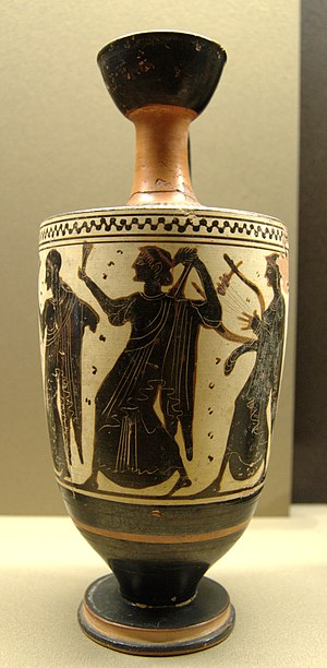Sappho Painter - White-ground lekythos attributed to the Sappho Painter depicting Achilles watching out for Polyxena. Louvre, Paris