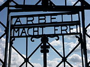 Detail of the Arbeit Macht Frei inscription on the gate at Dachau