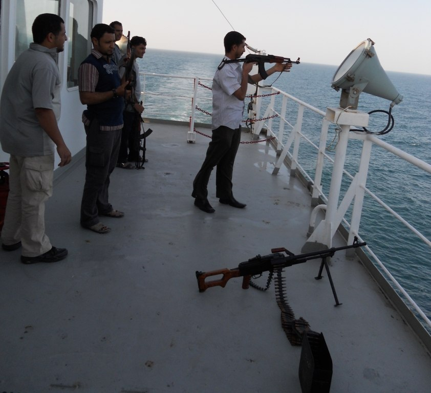 Armed guard escort on a merchant ship