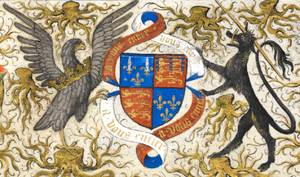 John of Lancaster, 1st Duke of Bedford - Coat of arms of John of Lancaster, 1st Duke of Bedford, detail from Bedford Hours
