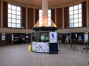 Arnos Grove tube station - Station interior, showing the circular drum-like ticket hall.