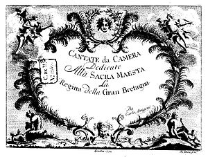 Carlo Arrigoni - Carlo Arrigoni's chamber cantatas, published in 1732 and dedicated to the English queen