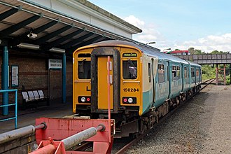 Wrexham Central railway station - An Arriva Trains Wales Class 150 waits at the station, before returning to Bidston.