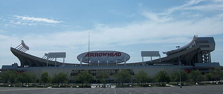 Arrowhead Stadium was originally selected for Super Bowl XLIX, but plans to add a retractable roof ultimately fell through. Arrowhead Stadium 2010.JPG