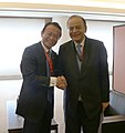 Arun Jaitley meeting the Finance Minister of Japan, Mr. Taro Aso, on the sidelines of the annual Asian Development Bank Board of Governors' meeting, in Yokohama, Japan.jpg