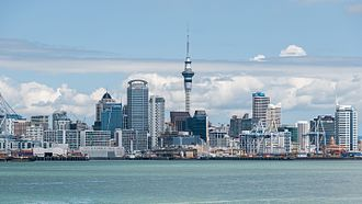 Economy of Oceania - The skyline of the Auckland central business district in New Zealand. Auckland is the fifth populous city in Oceania and most populous city in New Zealand.